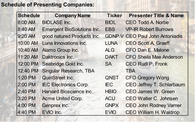 schedule of presenting companies